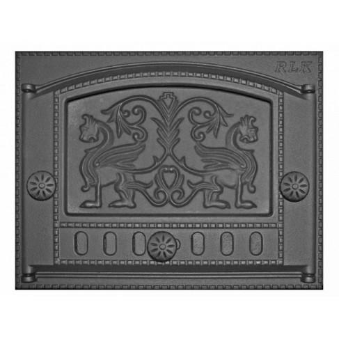 фото дверки для камина из чугуна Грифоны