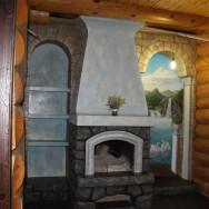 Кирпичный камин отделка лепнина, роспись