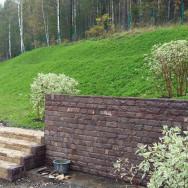 Подпорная стенка, планировка и укрепление откоса