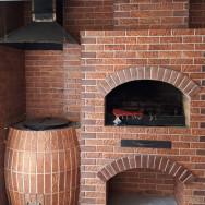 Барбекю комплекс: Мангал, тандыр, печь,-отделан плиткой терракот
